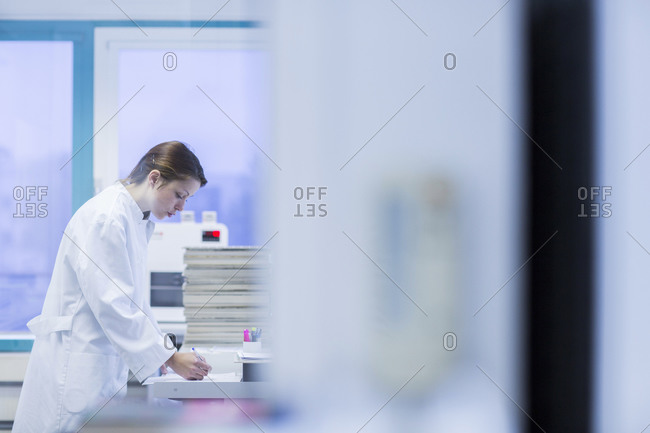 Medical laboratory assistant checking record