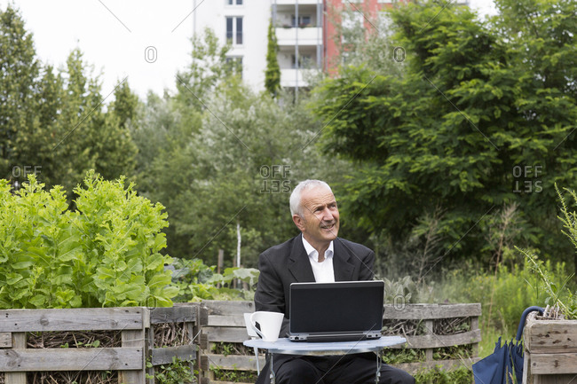 Businessman sitting with laptop and cup of coffee between raised beds