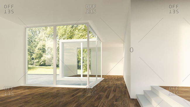 3D Rendering of modern home interior with view to garden