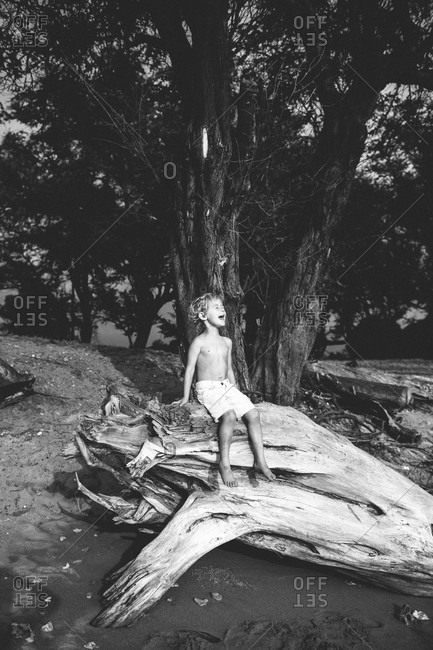 A boy yells while sitting on a large piece of wood at the beach