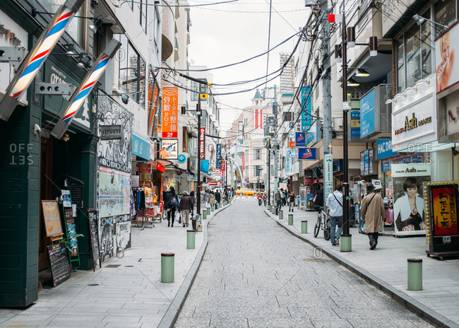 Yokohama, Japan - July 7, 2015: Street with shops