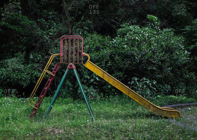 Slide in overgrown park