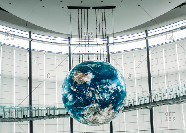 Tokyo, Japan - July 7, 2015: Globe hanging from ceiling in Miraikan