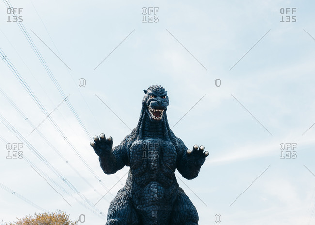Yokosuka, Japan - July 7, 2015: Statue of Godzilla at the Kurihama Flower Park
