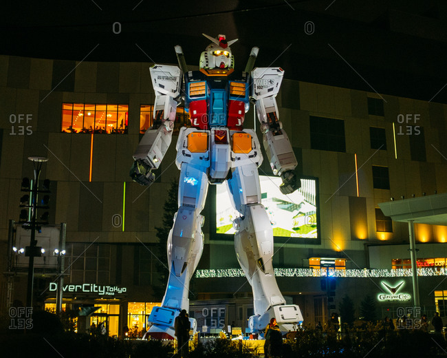 Tokyo, Japan - July 7, 2015: Transformer statue outside Diver City Plaza
