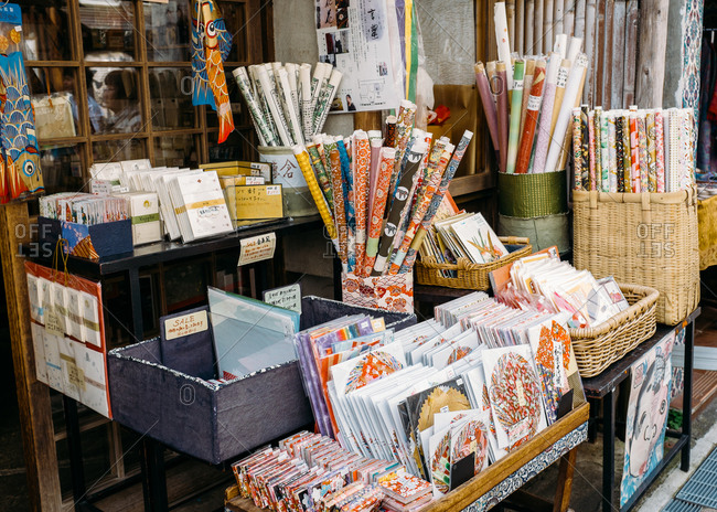 Paper store stall outside in Japan