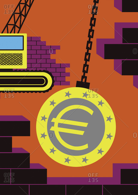 A wrecking ball with the euro sign
