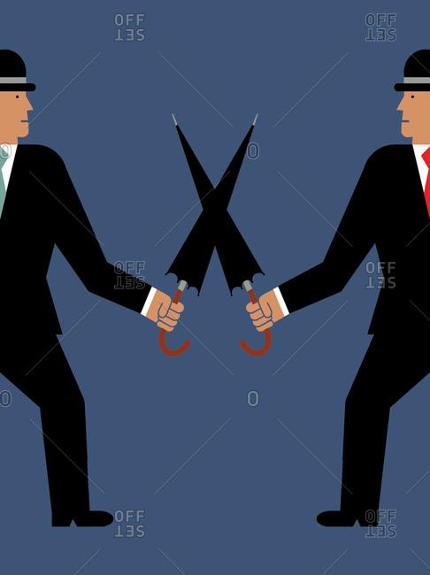 Two businessmen cross umbrellas