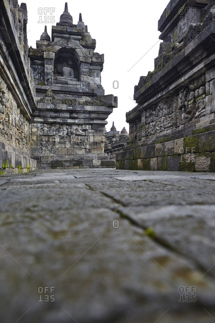 Architecture of Borobudur temple in Magelang, Central Java, Indonesia