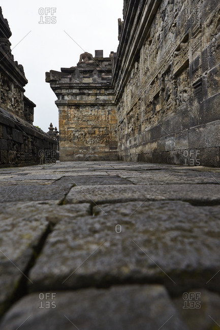 Architectural details of Borobudur in Magelang, Central Java, Indonesia