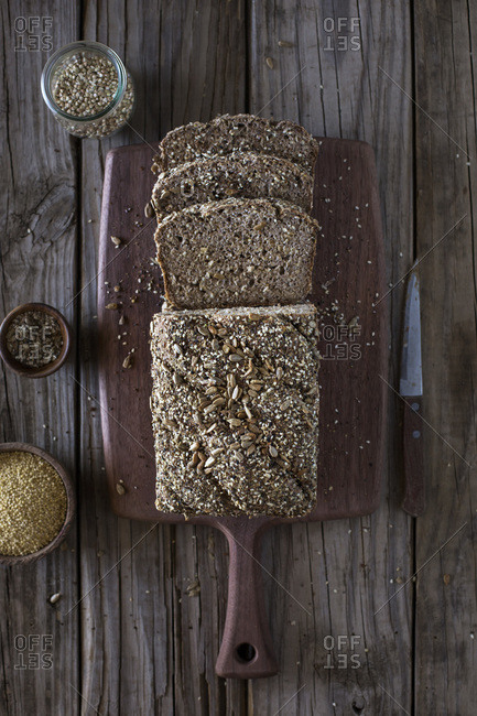 Millet and buckwheat bread slices