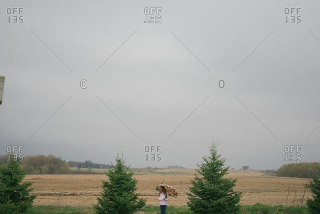 Girl with an umbrella in a rural landscape