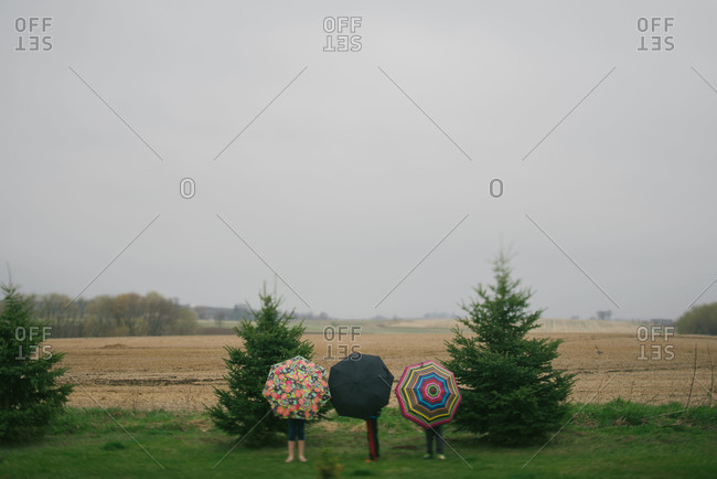 Kids with umbrellas in a rural landscape