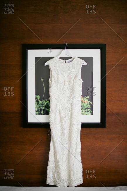 Woman's white lace dress
