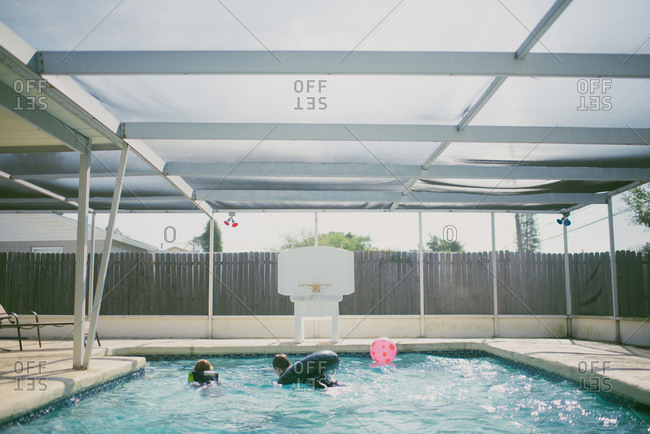 Children swimming in a pool