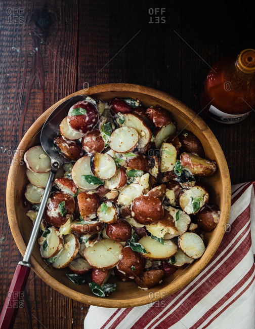 Potato salad made with roasted new potatoes