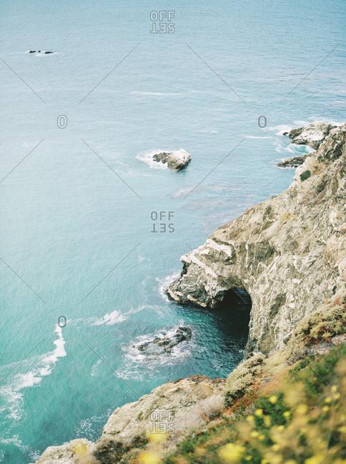 A rocky cliffside in Big Sur