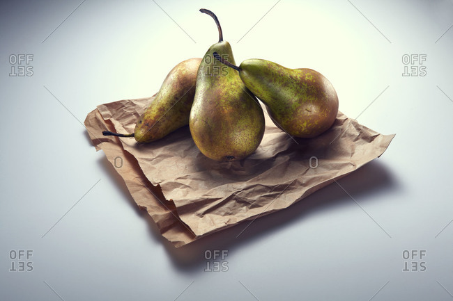 Pears on a paper bag