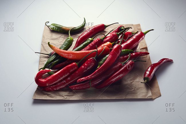 Serrano peppers on a paper bag