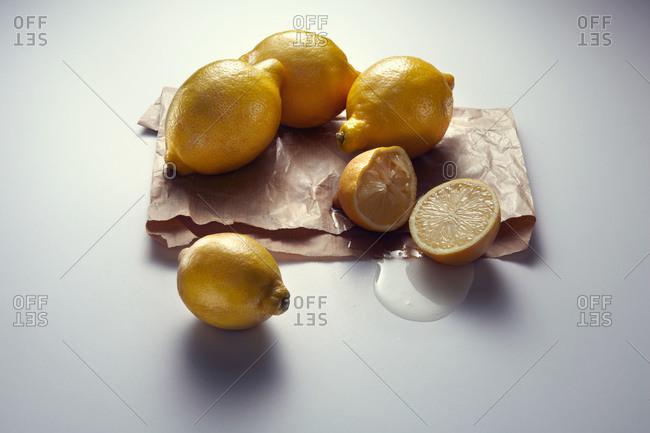 Lemons on a waxed paper bag