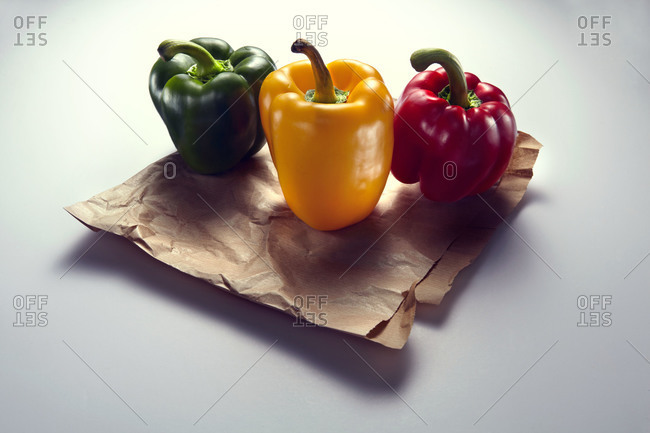 Bell peppers on a paper bag