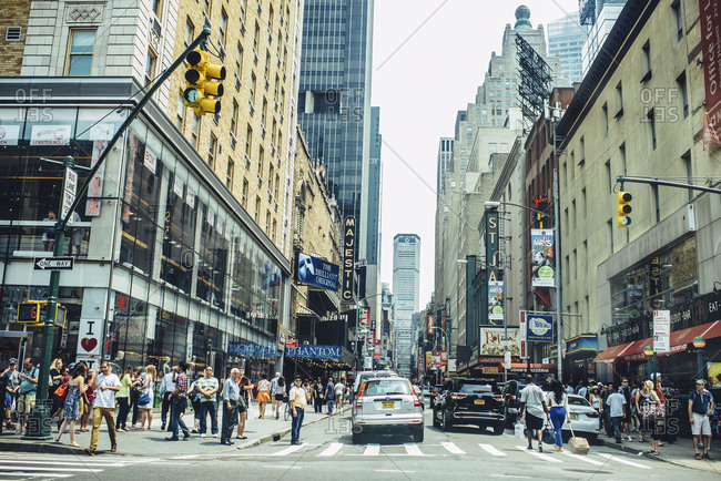 New York, NY, USA - July 5, 2015: Crowded intersection in New York City