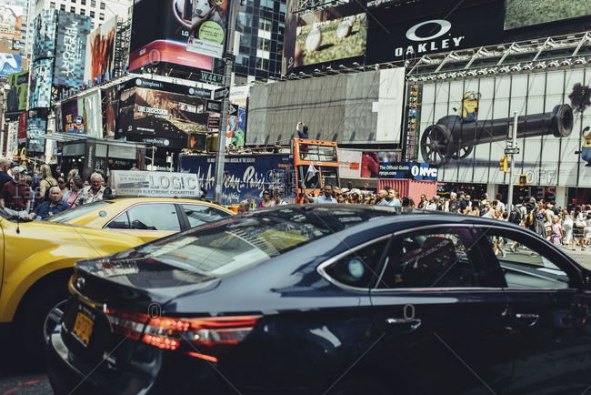 New York, NY, USA - July 5, 2015: Traffic and pedestrians in Times Square