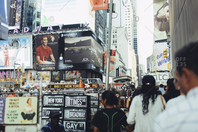 New York, NY, USA - July 5, 2015: Souvenir stand in Times Square, New York City