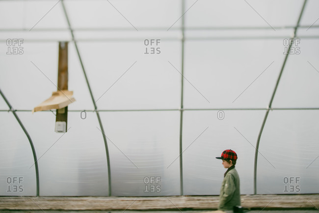 Young boy in an empty greenhouse