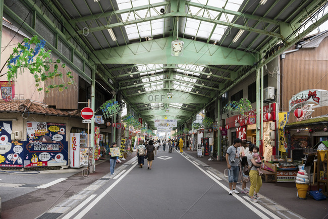 Japan - June 8, 2014: Covered marketplace in Japan