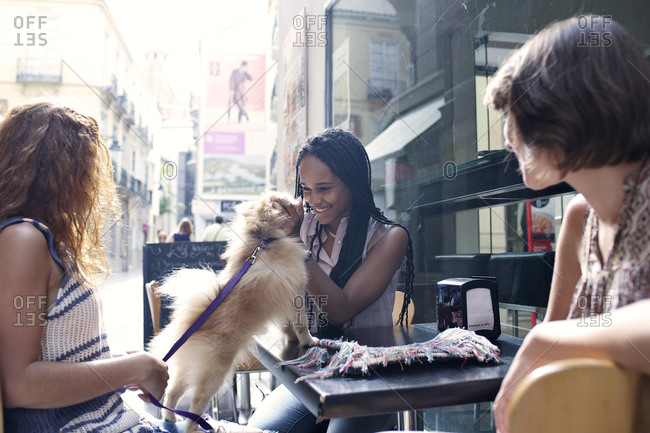 Woman greets her friend's dog at an outdoor caf_