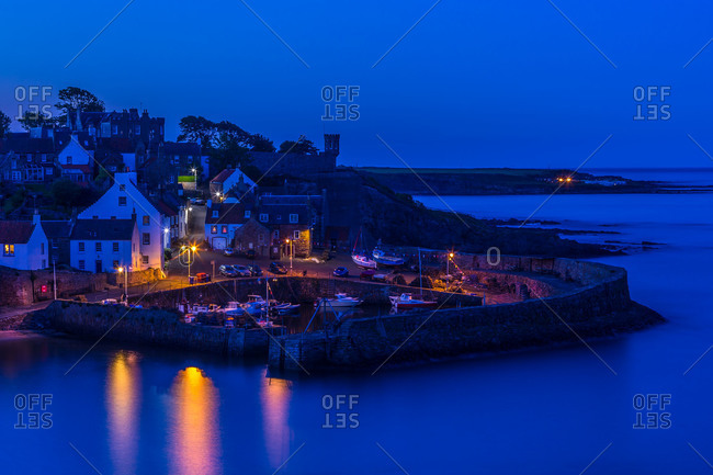 Crail harbor at night