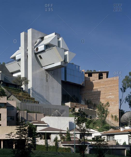 Mexico City, Mexico - February 11, 2013: Exterior facade of  Agustin Hernandez's Casa en el aire