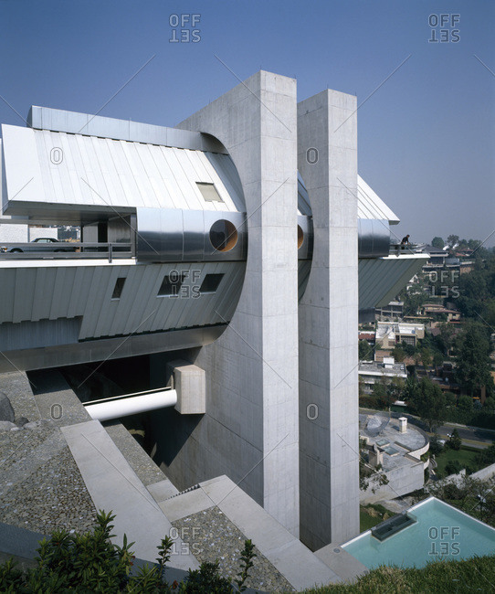 Mexico City, Mexico - November 26, 2008: Side elevation with terraced gardens of the Casa en el aire, designed by Agustin Hernandez
