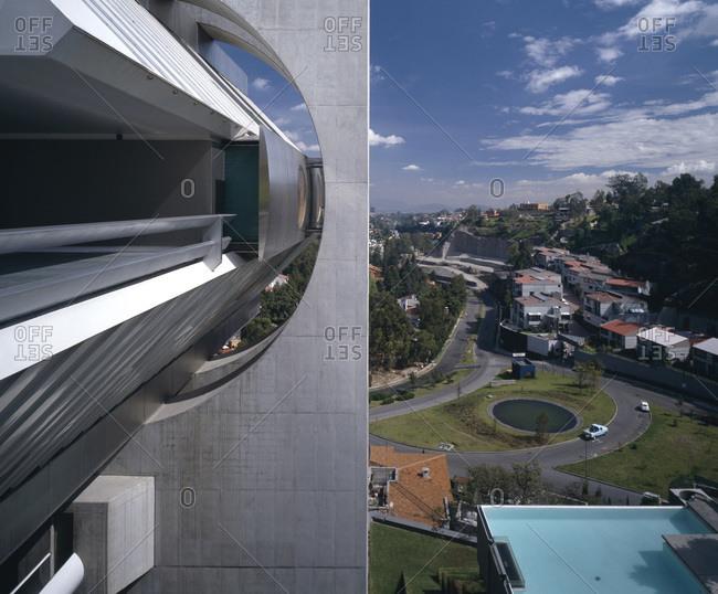 Mexico City, Mexico - February 11, 2013: Metallic detail on facade of Agustin Hernandez's Casa en el aire