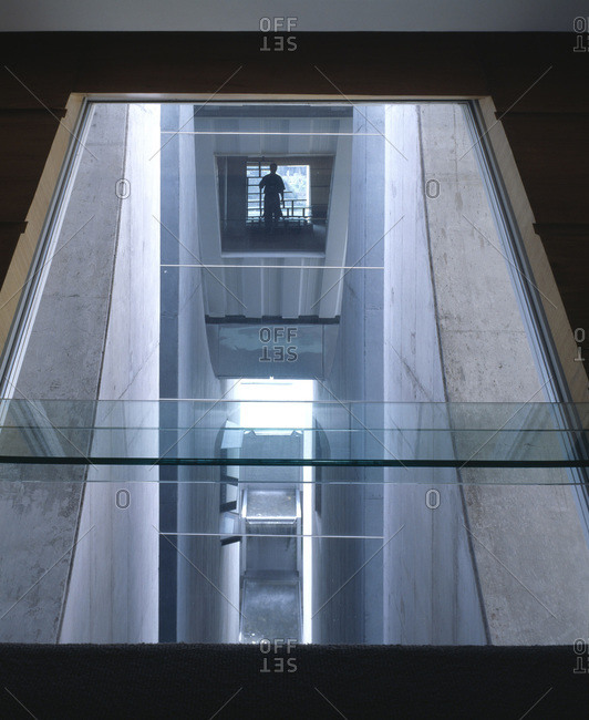 Mexico City, Mexico - January 10, 2011: Glass windows of  en el aire, designed by Agustin Hernandez