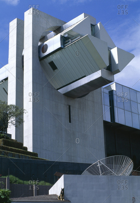 Mexico City, Mexico - January 10, 2011: Looking up at the Casa en el aire, designed by Agustin Hernandez