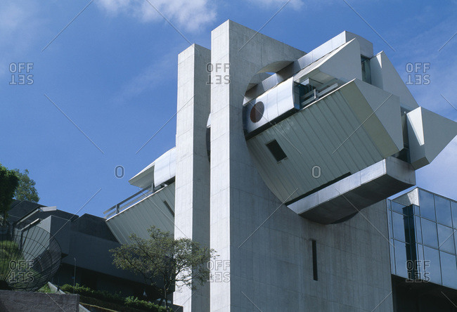 Mexico City, Mexico - February 11, 2013: Low angle view of  en el aire, designed by Agustin Hernandez