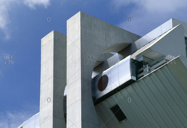 Mexico City, Mexico - February 11, 2013: Close up structural detail of Agustin Hernandez's Casa en el aire