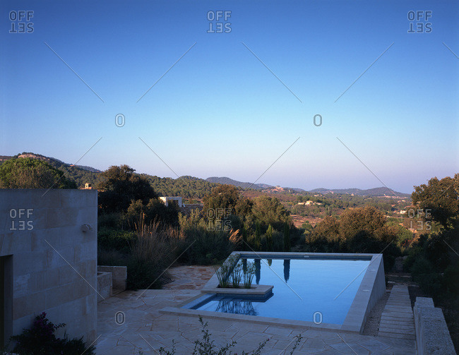 Mallorca, Spain - March 11, 2009: Swimming pool at Son Vent, the architect Astrid Lohss' family home