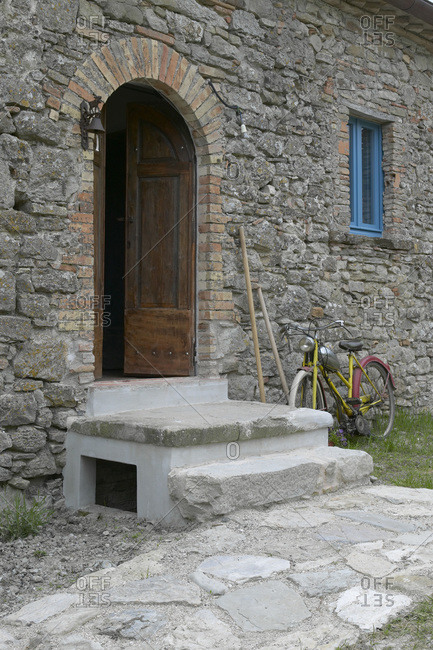 Entrance of a Tuscan farmhouse in Italy