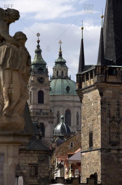 Charles Bridge and Church of St Nicholas in Little Quarter, Prague, Czech Republic