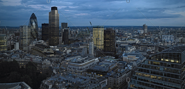 View over the City of London and its tall modern buildings, London, United Kingdom