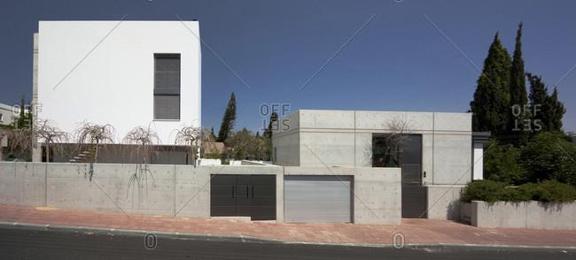 Exterior facade of a white villa in Ramat Gan, Israel