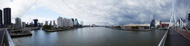 The Erasmus Bridge and the Nieuwe Maas river in Rotterdam, The Netherlands