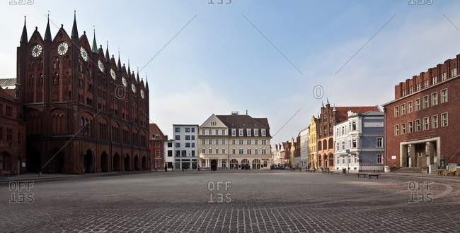 Panoramic view of the old market with gothic City Hall and historic buildings in Stralsund, Germany