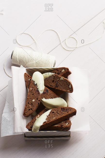 Chocolate cranberry biscotti with icing