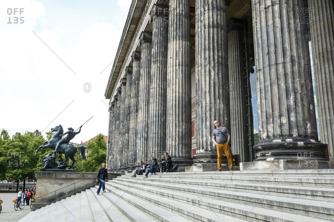 May 22, 2015: The steps of the Altes Museum at the Museumsinsel (Museum Island), Mitte, Berlin, Germany