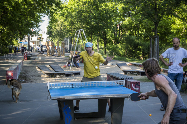 May 24, 2015: People playing ping pong in a park in Kreuzberg, Berlin, Germany