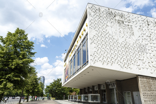 May 25, 2015: A cinema on Karl Marx Allee, Friedrichshain, Berlin, Germany